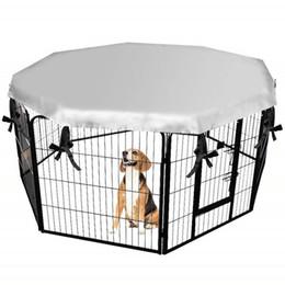 Vente en gros Couverture de cage de chien pliant en plein air pour animaux de compagnie Sun Shade Auvent Étanche à la pluie Imperméable Anti-évasion Couverture De Protection Chien Cage Accessoires 20E