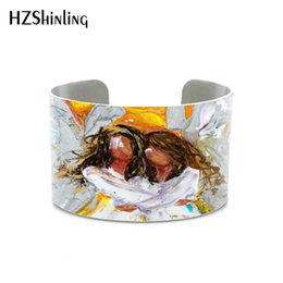 $enCountryForm.capitalKeyWord Australia - 2019 hot sale Angel Hugs painting angel art original oil abstract braclet New Orleans Moon Print handmade bangle for women men