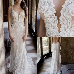 $enCountryForm.capitalKeyWord NZ - New Light Champagne Illusion Neck Beading Lace Wedding Dresses 2019 Boho Chic Wedding Dress Bridal Gowns robe de mariage