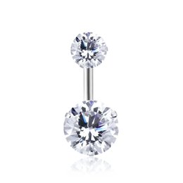 $enCountryForm.capitalKeyWord UK - 12 Colors Double Round Cubic Zirconia Geometric Shape Belly Button Ring Piercing Body Jewelry Nightclub Dance 10*1.6*8mm Brincos