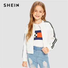 Wholesale kids clothes stands for sale - Group buy SHEIN Kiddie Stand Collar Zipper Front Striped Trim Bomber Girls Jacket Coat Kids Clothes Spring Casual Jacket For