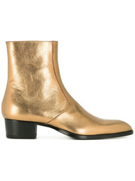 Cowboy Boots For Australia - Fashion Hot Gold Chelse Boots Cowboy Shoes for men Stacked Heel Western Martin Boot
