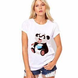 $enCountryForm.capitalKeyWord Australia - Dine t shirt Eating panda short sleeve tops Meal time print fadeless tees Man woman white colorfast clothing Pure color modal Tshirt