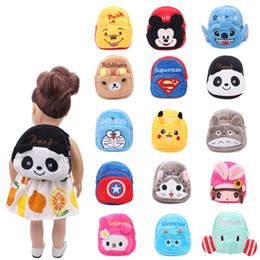 $enCountryForm.capitalKeyWord Australia - Dolls bag School backpack cartoon animal Zero wallet Baby toys fit American 18 inch Girls doll and 43 cm baby Gift c472