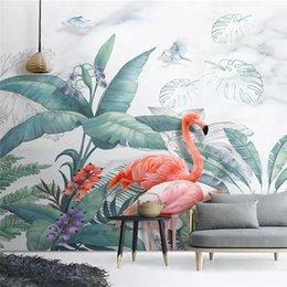 $enCountryForm.capitalKeyWord NZ - Custom silky papel de parede 3d wallpaper Nordic hand-painted small fresh tropical plants flamingo decorative painting