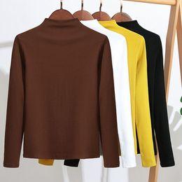 T Shirt Woman Korea NZ - GIGOGOU Women Cotton T Shirt 2019 Spring Autumn Long Sleeve Top Tee Shirts Korea Casual Tshirt Slim Fit Ladies T-shirt T5190606