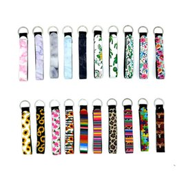 Wholesale colourful prints resale online – Neoprene Wristlet Keychain Colourful Printed Key Rings Sunflower Leopard Rainbow Printing Keychain Wristlet Hanging Ropes HHA1306
