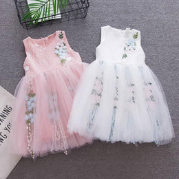 $enCountryForm.capitalKeyWord Australia - Girl Dresses Summer Fashion Embroidered Princess Sleeveless Dress 2 Colors Boutique Baby Clothes Vest Party Dresses