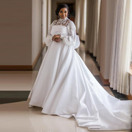 $enCountryForm.capitalKeyWord Australia - Plus Size Satin 2019 Wedding Dresses High Neck Long Sleeve Big Bow Tie Africa Wedding Gown Beaded Princess Bridal Dress