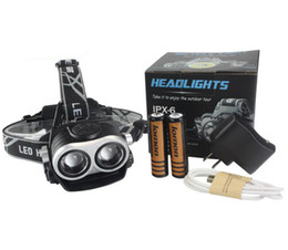 $enCountryForm.capitalKeyWord NZ - Ultra Bright XML T6 LED Headlamp Headlight Head Lamp Zoom Double Head Torch Light for Hunting Camping + 18650Battery + AC Charger