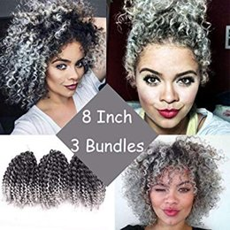 ombre hair extensions for braiding 2019 - Marlybob Kinky Curl Ombre Crochet Braiding Hair (3 Bundles pack) 8inch Water Wave Crochet Hair Extensions For Women (T 1