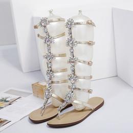 $enCountryForm.capitalKeyWord NZ - Summer Flats Sandal Gladiator Gold Rhinestone Knee High Buckle Strap Woman Boots Bohemia Style Crystal Beach Shoes