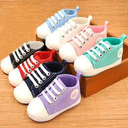 Wholsale sports online shopping - 24colors wholsale Baby Sports canvas Shoes Boy Girl First Walkers Sneakers Baby Infant Soft Bottom Casual Lace UP shoes for Mons C0006