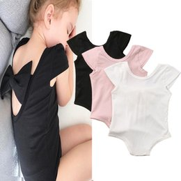 BaBy cloth short sleeve online shopping - 2019 Baby Girls Bowknot Rompers Cute Infant Newborn Summer Back Hollow Out Onesies One piece Rompers Jumpsuits Bodysuit Kids designer cloth