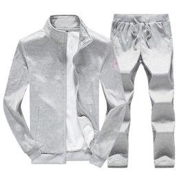 Navy cardigaNs online shopping - Men Tracksuit Set Zipper Hoodies Jacket Long Sleeve Outwear Black Gray Navy Two Set Tracksuits Plus Size M XL