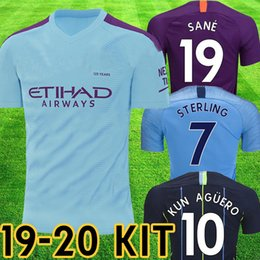 Wholesale 2019 Manchester DE BRUYNE KUN AGUERO city soccer jerseys JESUS MAHREZ jersey football KIT shirt adult kids set uniform man tops