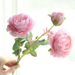 $enCountryForm.capitalKeyWord Australia - 3 Heads White Rose Flowers Artificial Flowers Peonies Bouquet Silk Flowers Red Pink Blue Fake Flower New Year Wedding Home Decor