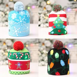 Knitted ornaments online shopping - LED Christmas Christmas Sweater Tree Beanie Light Up Knitted Hat for Children Adult Party Interesting Gift
