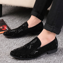 black shining shoes for men 2019 - LAISUMK Shining Rhinestone Decoration Fashion Loafer Shoes Men Pointed Toe Casual Flat Shoes for Wedding Party 2019 New