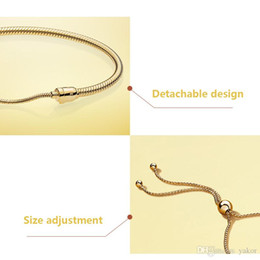 $enCountryForm.capitalKeyWord Australia - NEW 18K Yellow Gold Snake Chain Bracelet Set Original Box for Pandora 925 Silver Moments Adjustable size Bracelets Women Wedding Jewelry