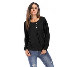 Loose Crew Neck Tshirt Wholesale UK - 2019 Tshirt women Europe and the United States o-neck solid color button decorative loose head long-sleeved t shirt women BM5804