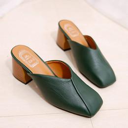 $enCountryForm.capitalKeyWord NZ - Brand Designer Woman Mules Shoes High Heels Flip Flops Square Toe Slippers V Open Wedges Shoes Leather Slides Women Mule
