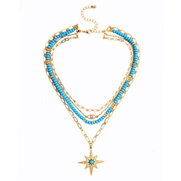 Chinese  Bohemia Blue Beads Strings 4 Layered Short Necklace Ethnic Evil Eyes Charm Dress Torques For Women Fashion Jewelry Drop Shipping manufacturers