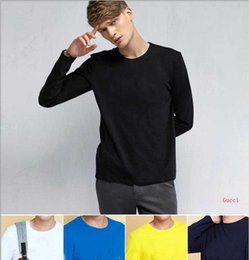 $enCountryForm.capitalKeyWord Australia - New Arrival Brand Designer Shirts Mens Clothes Print Solid Color Long Sleeve Slim Fit Tees Men Cotton T-Shirt Casual T Shirts