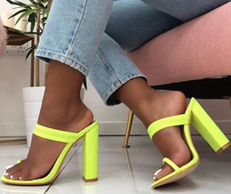 $enCountryForm.capitalKeyWord Canada - New 2019 summer sandals flip-flops sandals with thin high heels slippers with a buckle women's naughty slippers green shoes . LX-099