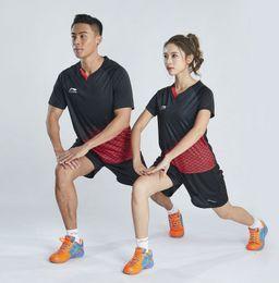 $enCountryForm.capitalKeyWord Australia - Li Ning Badminton Suit Sportswear for Men & Women Short Sleeve T-shirt Leisure Running Basketball casual wear Table tennis 6039 + 7018 BLACK
