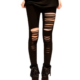 36188f4fd5774 Women Lady Punk Hole Torn Ripped Hole Leggings Party Pants Jegging Casual  New