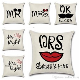 $enCountryForm.capitalKeyWord Australia - Mr Mrs Always Right Cushion Cover Sofa Decorative Square 12 Styles Pillow Case The Wedding Letters Cushions Linen Cover DHL Free Shipping