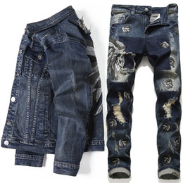 indian jeans venda por atacado-2020 Homens Estilo Europeu Sets bordadas indianas stretch denim azul Pieces Maching Set Jacket e furo Jeans Mens clohing