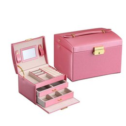 China OUNONA Diamond Pattern Leather Necklace Jewelry Box Lockable Makeup Storage Case Organizer with Lift-Up Lid Mirror and Drawers supplier mirror necklaces suppliers