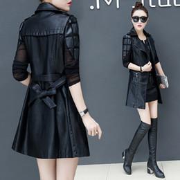 Wholesale womens long waistcoats resale online - Autumn Faux Leather Blazer Vest Womens Long Slim Waistcoat PU Leather Jacket Suit Vest Woman Locomotive Coat Size XL