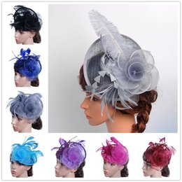 $enCountryForm.capitalKeyWord Australia - Women Fascinator Bow Hair Clip owknot Hat For Women Lace Feather Mini Hat Wedding Party Accessory sombrero mujer feather @30