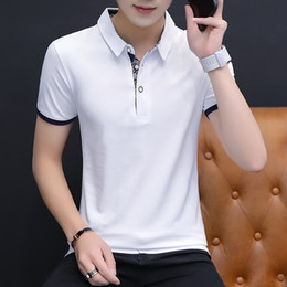 Cotton Polo Top Australia - The New Short Sleeve Tshirt for Men in the Korean Version of Trend Mens Pure Cotton Top Turnlapel Polo Tshirt and Halfsleeve for Men