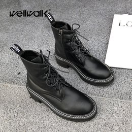 $enCountryForm.capitalKeyWord Australia - Wellwalk Black Ankle Boots Women Winter Shoes Woman Martens Boots Block Heels Ladies Booties Lace Up Female Bootees