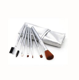 Discount metal makeup brush set 7pcs Set Foundation Makeup Brushes Eyeshadow Powder Eyebrow Eyeliner Make Up Brush Set Professional Cosmetic Tools Kit C