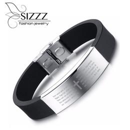 Discount teen bracelets - 2019 22cm Long 14mm Wide Tide of silicone Bracelet&Bangles smooth teen cool cross Bracelet&Bangles for men