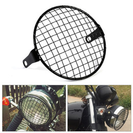 """Freeshipping 6.3"""" Retro Motorcycle Grill Side Mount Headlight lamp Cover Mask Cafe Racer Motorcycle lamp protect Grill"""