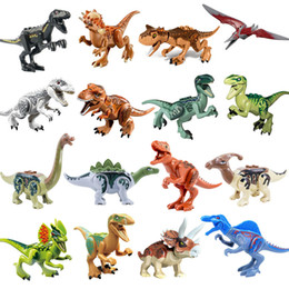 play blocks NZ - 16pcs Jurassic Dinosaur Play Set Building Block Brick T-Rex Velociraptor Dragon Toy for Boy Kid Children Compatible with Most Brand