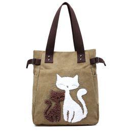 Cute Canvas Handbags Australia - New Canvas Handbags Korean Version Of The Tide Simple Shoulder Casual Diagonal Cute Cat Fashion Wild Portable Big Bag