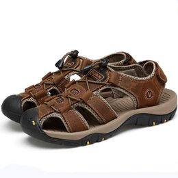 plastic men summer shoes Canada - Eu 38-46 Outdoor Waders Sports Sandals Summer Men Genuine Leather Non-slip Bottom Damping Beach Male Walking Hiking Wading Shoes #45385