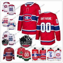 656a6b03342f9 Personalizado Montreal Canadiens Red White Classic 100 Jersey clásico  Cualquier número Nombre hombres mujeres jóvenes niño Azul Domi Kotkaniemi  Danault ...