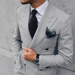 $enCountryForm.capitalKeyWord Australia - Light Grey Men Suit Jacket Double Breasted Terno Slim Fit Skinny Blazer Custom Tuxedo 2 Piece Masculino Latest Coat Pant Designs YM