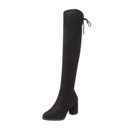 $enCountryForm.capitalKeyWord Australia - New Flock Leather Women Over The Knee Boots Lace Up Sexy High Heels Women Shoes Lace Up Winter Boots Warm Size 35-40