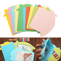 cute paper clips Australia - 10pcs Lot 5inch Colorful DIY House Shape Photo Frames Wall Hanging Cute Paper Photo Frame With Rope Wood Clip For Picture