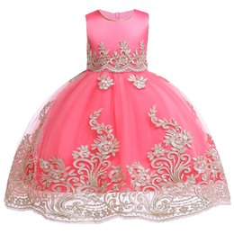 flowering dress UK - Kids Girls Embroidered Flower Girl Dresses Formal Princess Party Gown For Children Prom Gown Wedding 3 4 5 6 7 8 9 10 Years Y19061701