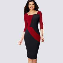 9e65daaaeb Professional Pencil dresses online shopping - Professional Women Casual  Contrast Patchwork Office Dress Formal Colorblock Sheath